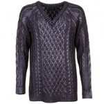 Religion Womens Jet Black Glint Open Sides Knitted Jumper