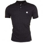 Pretty Green Mens Black Polka Dot S/s Polo Shirt