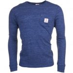 Franklin & Marshall Mens Blue Melange Logo Pocket L/s Tee Shirt