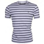 Lacoste Mens Grey & Navy Striped Crew S/s Tee Shirt