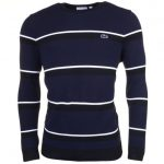 Lacoste Mens Black & Navy Made In France Striped Jumper