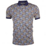 Pretty Green Mens Navy Stretford Aop S/s Polo Shirt