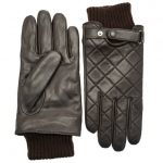 Barbour Lifestyle Mens Brown Quilted Leather Gloves