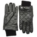 Barbour Lifestyle Mens Black Quilted Leather Gloves