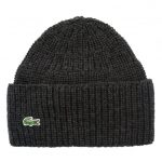 Lacoste Mens Grey Stripe Detail Knitted Hat