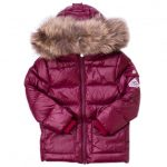 Pyrenex Girls Burgundy Authentic Fur Hooded Shiny Jacket