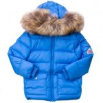 Pyrenex Boys Cyan Authentic Fur Hooded Matte Jacket