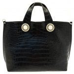 Versace Jeans Womens Black Croc Effect Tote Bag & Purse