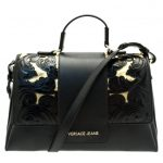 Versace Jeans Womens Black Stitch Patterned Cross Body Bag