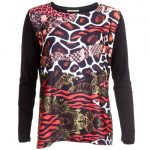 Versace Jeans Womens Black Animal Patterned Top