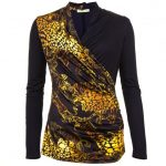 Versace Jeans Womens Black Animal Patterned Wrap Over Top