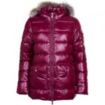 Pyrenex Womens Burgundy Authentic Fur Hooded Shiny Jacket