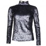Religion Womens Black & Silver Sequin Spirit Top
