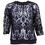 Replay Womens Black Velvet Patterned Sheer Top