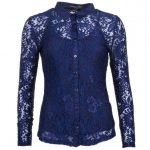 Forever Unique Womens Navy Toni Lace L/s Shirt