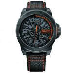 BOSS Orange Watches Mens Black New York Woven Effect Strap Watch
