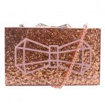 Ted Baker Womens Rose Gold Bowwe Bow Glitter Resin Clutch Bag