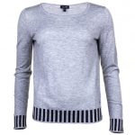 Armani Jeans Womens Grey Contrast Detail Knitted Jumper