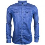 Armani Jeans Mens Blue Western Denim L/s Shirt