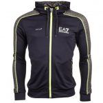 EA7 Mens Black Ventus7 Technology Hooded Sweat Top