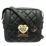 Love Moschino Womens Black Heart Quilted Cross Body Bag