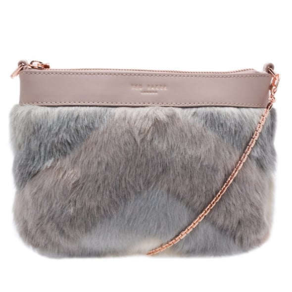 7cee7ed05 Ted Baker Womens Taupe Emmia Faux Fur Cross Body Bag
