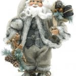 30cm Free Standing Santa in Grey Fur