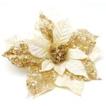 LARGE CLIP ON POINSETTIA – CLASSIC GOLD