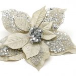Silver Clip on Poinsettia Christmas Tree Decoration
