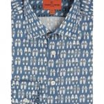 Shoe Print Blue Shirt