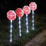 4 Santa Stop Here Stake Lights