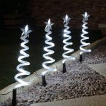 4 Outdoor Spiral Tree Path Lights, White LEDs