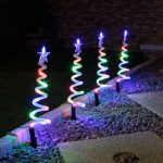 4 Outdoor Spiral Trees Path Lights, Multi Colour LEDs