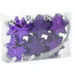 12 x 50mm Purple Shatterproof Stars Christmas Tree Baubles
