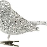 17cm Silver Glitter Clip On Bird Christmas Tree Decoration