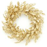 50cm Gold Glitter Holly Berry Wreath
