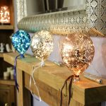 Hanging Battery Mercury Glass LED Balloon, Silver