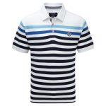 Alexander Mens Polo Shirt White Stripe