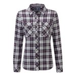 Belle Womens Double Weave Shirt Plum Check