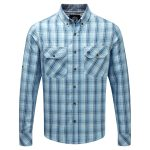 Congo Mens Mcs Blocker Long Sleeve Shirt Blue Haze Check