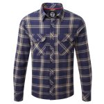 Foxe Mens Tcz Cotton Shirt Dark Midnight Check
