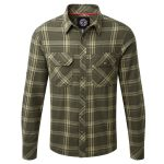 Foxe Mens Tcz Cotton Shirt Dark Olive Check