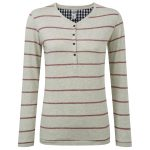 Jenna Womens Stripe Long Sleeve T-Shirt Oatmeal Marl