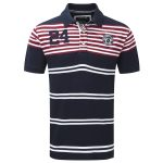 Vaughn Stripe Mens Deluxe Polo Shirt Dark Midnight
