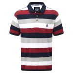 Wells Stripe Mens Polo Shirt Rio Red