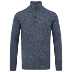Zak Mens Knit Button Neck French Navy