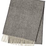 Merino Wool Dot Herringbone Grey Scarf