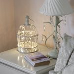 Shabby Chic Bird Cage with Warm White Wire Light, 26cm