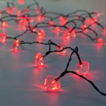 50 Red LED Heart Indoor & Outdoor Battery Fairy Lights with Timer