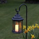 Outdoor Battery Flickering Candle Lantern with Timer, Amber LED,27.8cm